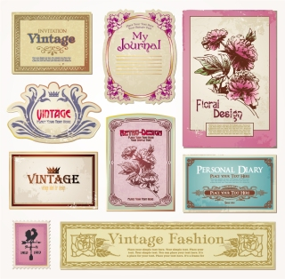 ノスタルジーな美しい花のラベル nostalgia flowers label vector イラスト素材