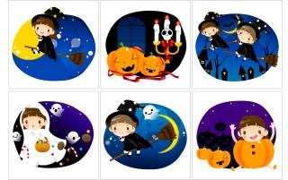 可愛いハロウィンウィッチのクリップアート Halloween cute ghost moon night イラスト素材