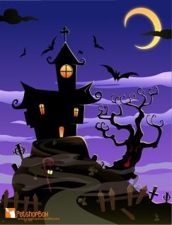 ハロウィンの幽霊屋敷の背景 halloween spooky house poster template イラスト素材