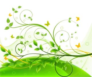 鮮やかな緑の葉と曲線の背景 Green Floral Background イラスト素材