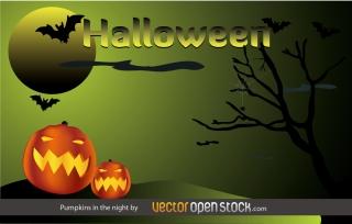 コウモリが舞うハロウィンの夜 Halloween Pumpkins in the night イラスト素材