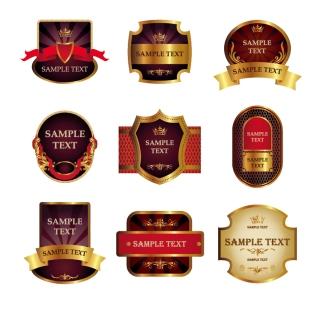 お洒落な金色のワイン ラベル stickers and labels wine vector イラスト素材1