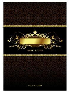 上品な金縁のラベルと表紙デザイン european pattern background with label イラスト素材5