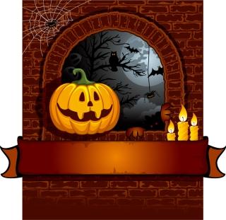 ハロウィン飾りの背景 halloween cartoon background イラスト素材