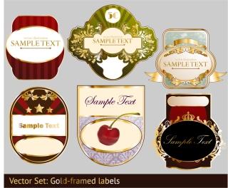 金色の帯が豪華なワイン ラベル stickers and labels wine vector イラスト素材2