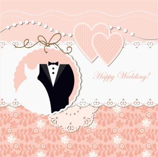 お洒落に飾り付けた結婚招待状の背景 wedding label background イラスト素材