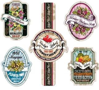花やフルーツのレトロなラベル デザイン Retro flowers fruit stickers イラスト素材