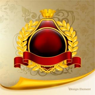 豪華な金飾りのメダル デザイン gorgeous medal vector イラスト素材4