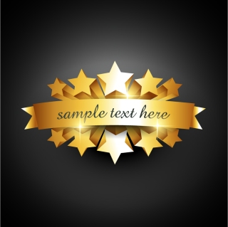 金色に輝く立体的な星とリボンのクリップアート three-dimensional ribbon gold badges イラスト素材
