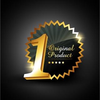 一番を表す立体的な数字のバッジ three-dimensional characters gold badges イラスト素材