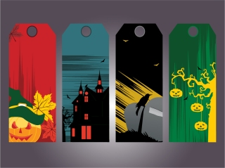 ハロウィン タグ デザイン halloween tag element vector イラスト素材1