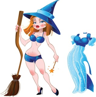 ハロウィン 魔女のクリップアート halloween witch vector イラスト素材3