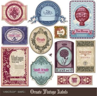 趣きのあるレトロなラベル デザイン european retro label vector イラスト素材2
