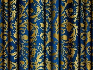 金色の植物柄が美しい織物 vector golden floral fabric イラスト素材