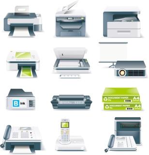 プリンター・スキャナー事務機器のクリップアート office equipment icon vector イラスト素材