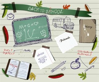 学校をイメージした手描きの付箋 handpainted school supplies イラスト素材