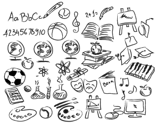 学習をイメージした手書きアイコン hand drawing education icon イラスト素材