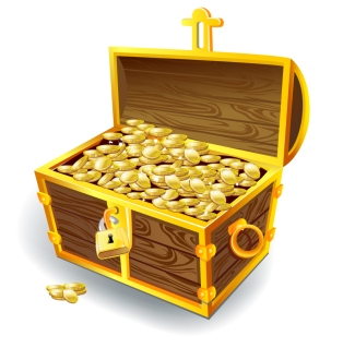 黄金の宝箱 treasure chest currency coin gold イラスト素材