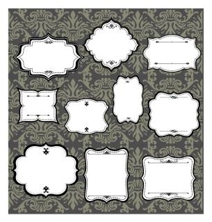 黒フチのエレガンスなヴィンテージ フレームVintage elegance frame イラスト素材