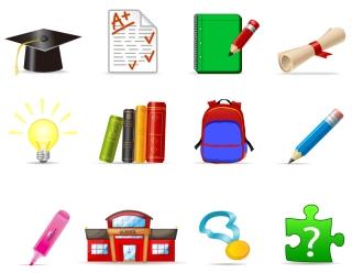学校教育を描いたアイコン school education icons イラスト素材