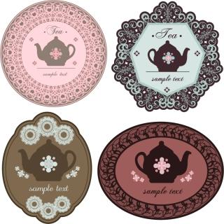 喫茶を題材にしたコースター デザイン Coffee theme material picture イラスト素材1