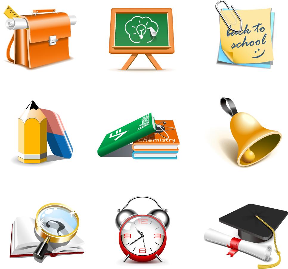 立体的な学校関連のクリップアート exquisite school supplies イラスト