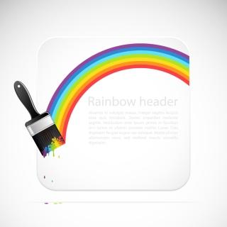 レインボーカラーに塗った虹の背景 Rainbow Vector Background イラスト素材