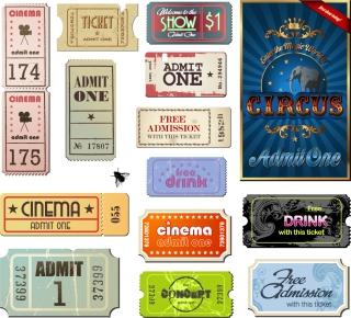 ヴィンテージな映画チケットの見本 Vintage Movie Ticket Vector イラスト素材