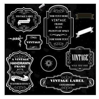 レトロな黒いフレーム retro revival frame イラスト素材