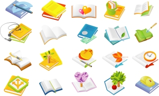 色々な分野の書籍本アイコン many series books vector イラスト素材
