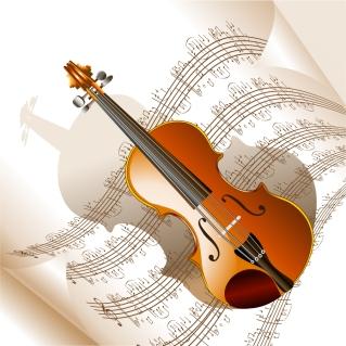 管弦楽器と楽譜のお洒落な背景 read music and musical instruments イラスト素材2