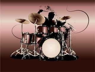 力強く演奏するドラマーのシルエット playing drummer silhouette イラスト素材