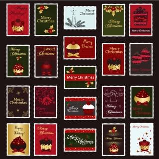 クリスマス飾りの切手デザイン exquisite christmas ornaments stamp vector イラスト素材4