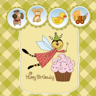 子供向けの可愛い誕生日カード Cute cartoon style children's card design イラスト素材