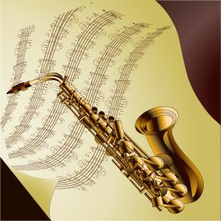 管弦楽器と楽譜のお洒落な背景 read music and musical instruments イラスト素材3
