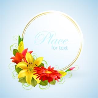花飾りの輝く円形フレーム floral greeting card border イラスト素材