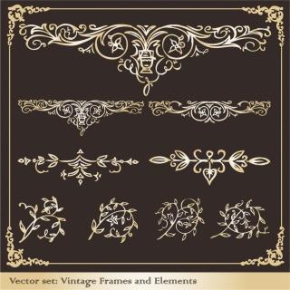 黒地に輝く金の飾り罫とフレーム retro border elements イラスト素材3