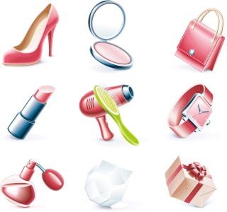 立体的な女性の日用品アイコン Steric Women's Day supplies イラスト素材2
