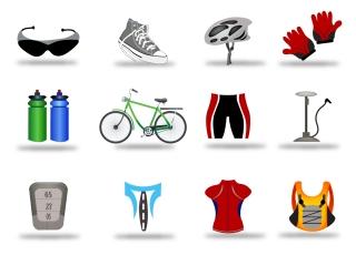 自転車に関するお洒落なアイコン Bicycle Icon Set イラスト素材