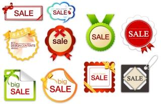 お洒落な形の割引セール タグ lovely sales discount tag イラスト素材