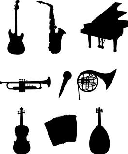 楽器のシルエット Musical Instruments Silhouettes イラスト素材