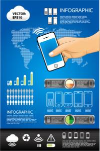 モバイル シーンのインフォグラフィックス テンプレートElements of phone infographics vector