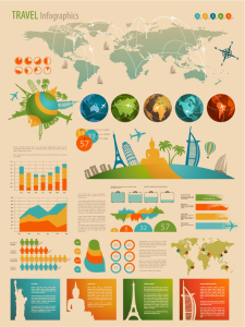 世界旅行レポート作成図案素材 Data report figure